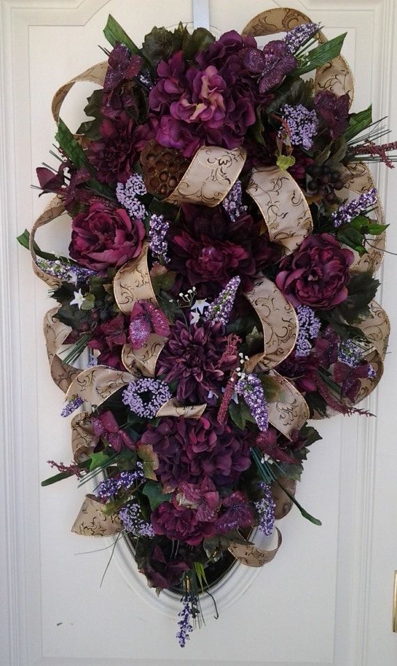 PURPLE MAJESTIES Silk Floral swag by SparetimeSpecialties on Etsy