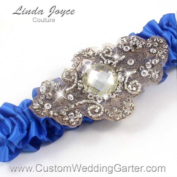 Royal Blue Antique Vintage Wedding Garter By