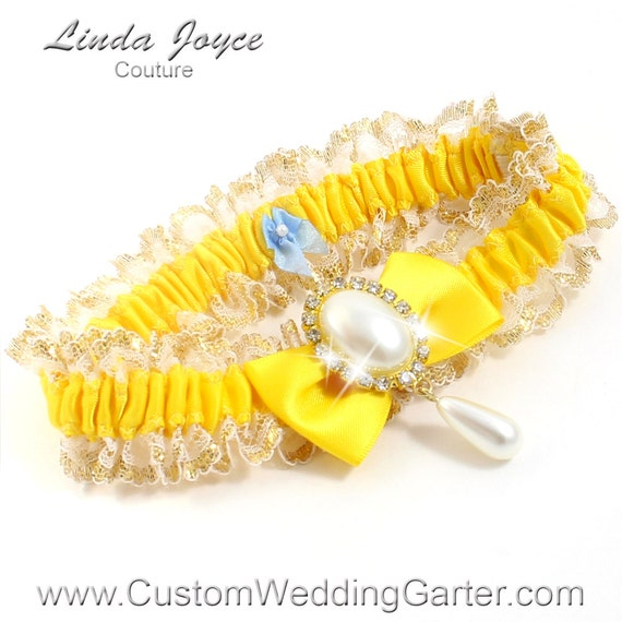 Items Similar To Yellow And Gold WEDDING GARTER Pearl