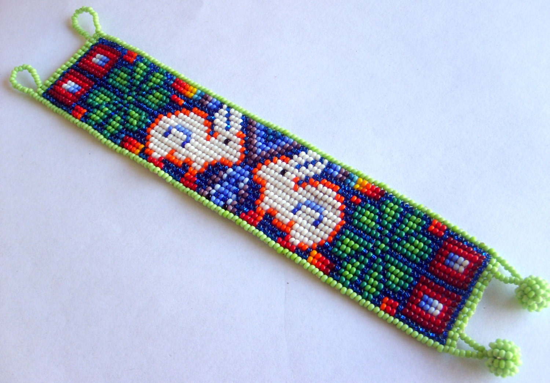 mexican huichol beaded peyote and rabbit bracelet