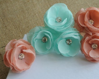 Wedding Hair flower Wedding Hair Piece Mint Headpiece Peach Blush Mint Small Hair Flowers Wedding Headpiece Bridesmaid Hair Accessories