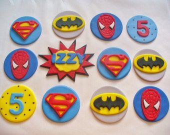 12 SUPERHEROES Edible Fondant Cupcake Toppers Personalized
