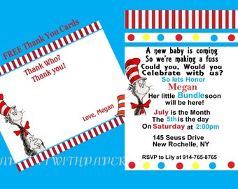 Dr SUESS Baby Shower Invitation and with FREE Thank You Cards