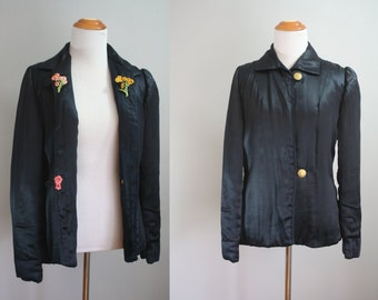 1930's Lounge Coat // Silk with Appliques // Small