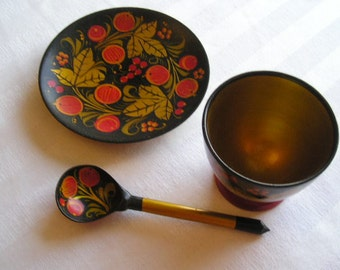 Russian Lacquerware|Cup, Saucer, Spoon|Hand Painted|Vintage Russian Lacquerware|Art & Collectibles|Collectibles|Collectible Plates|Russia