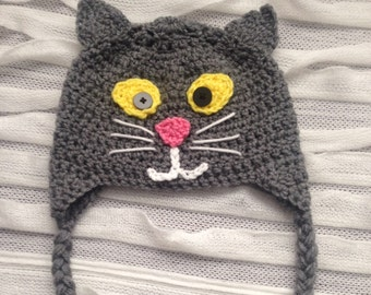 Cat Hat, Crocheted Cat Hat, Kitty Cat Hat, Made to Order, Kitty Hat, Kids Hat, Any Size, Winter Hat, Photo Prop, Winter Accessories
