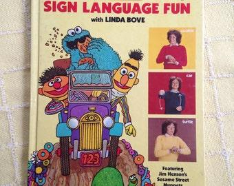 Sign Language Fun Book Sesame Street Linda Bove Large Hardcover