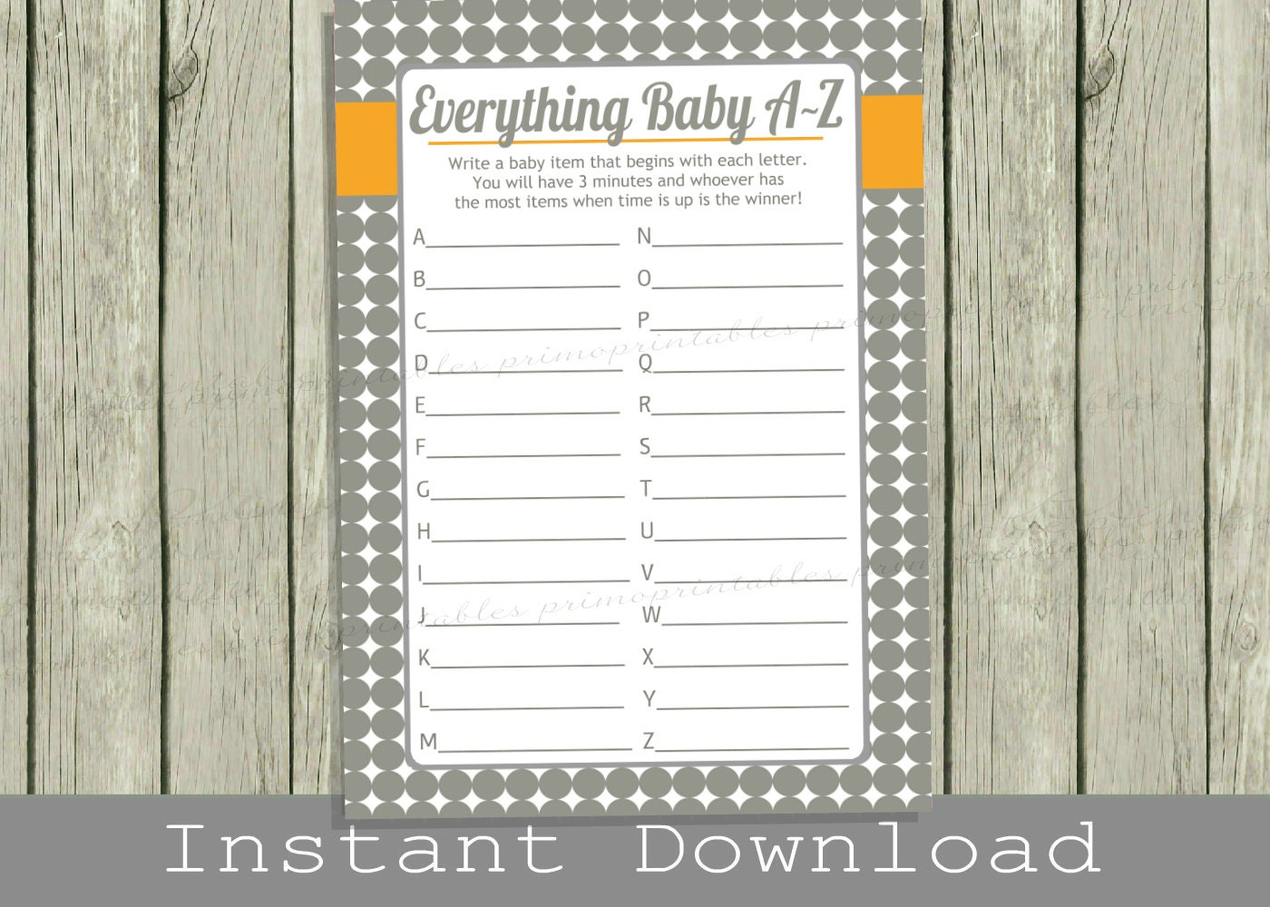 Baby Shower Game Cards / Baby Items A To Z Game / Gray Orange