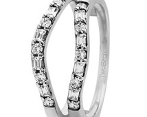 Delicate Traditional Contoured Ring Guard - Sterling Silver Wedding Ring Enhancer with .48ct Cubic Zirconia