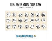 Social Media Icons - Hand Drawn - Social Media Buttons - Paper Cut Out Style - Instant Download - PSD PNG Vector Formats