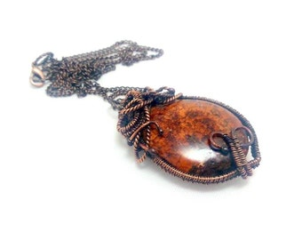 Bronzite pendant. Wirewrapped pendant. Copper pendant.