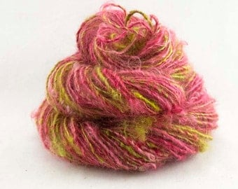 Handspun Yarn. Single from Kid Mohair locks. Dyed in crimson red and olive green