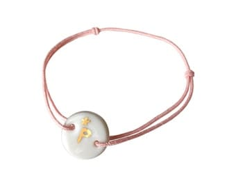 Porcelain bracelet with a gold letter and a tiny star , ceramics, statement bracelet or bridesmaids gift