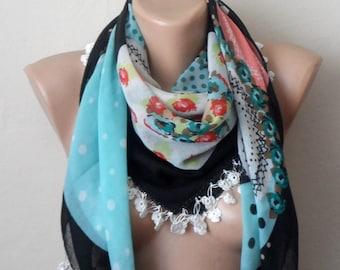 black scarf multicolor scarf cotton scarf oya scarf women scarves fashion scarf gift for her shawls