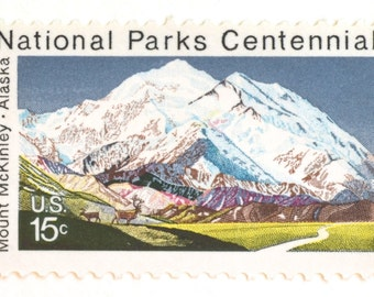 10 Unused Mountain Stamps  // Vintage 1972 National Parks 15 Cent Postage Stamps