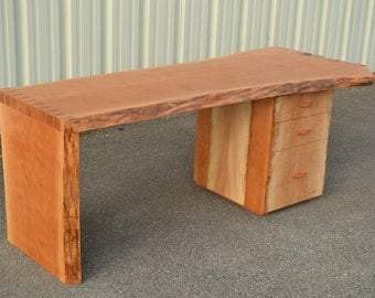 Live Edge Cherry Desk with Dovetailed Waterfall Edge