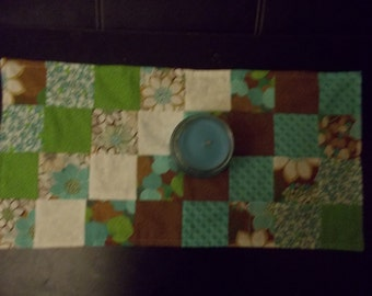 Table runner patchwork  approx 12 x 25 Green, brown and blue floral reversible.