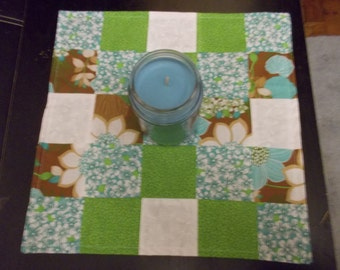 Table runner patchwork  approx 15x15 Green, brown and blue floral reversible.
