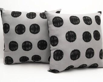 Throw Pillow - Gray And Black Polka Dot Decorative Throw Pillow - Couch Pillow - Geometric Print - Gray Pillow -