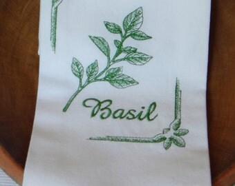 Basil Herb White Cotton Kitchen Dish Towel