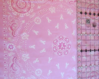 Breast Cancer Awareness bandana print cotton fabric