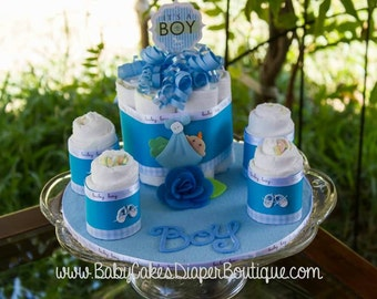 Diaper Cake Centerpiece | Baby Boy Diaper Cake | It's a Boy | Baby Shower Gift | Baby Boy Diaper Cake Gift