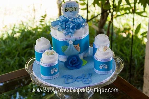 Diaper Cake Centerpiece - Baby Boy Diaper Cake - It's a Boy - Baby Shower Gift - Baby Boy Diaper Cake Gift