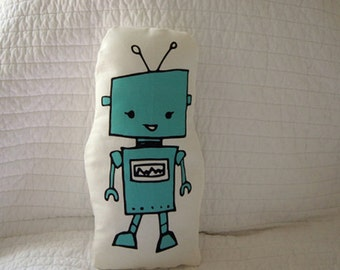 Blue Robot Pillow, Nursery Pillow, Nursery Decor, Baby Room, Cartoon Pillow, Hand drawn Robot Pillow, Linen Canvas, Boys Room