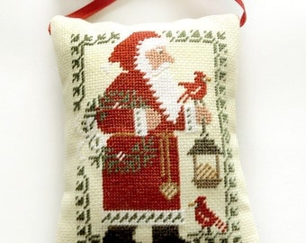Christmas tree decor, christmas gift present, primitive Santa Claus, Completed cross stitch primitive Christmas ornament pillow