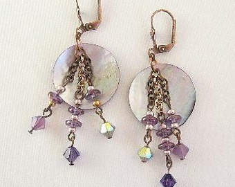 Shell Earrings Glass Beads Purple