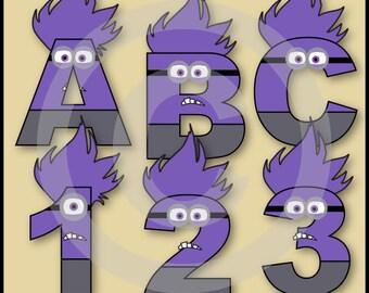 Evil Minions Alphabet Letters & Numbers Clip Art Graphics