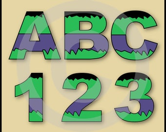 The Hulk (Avengers) Alphabet Letters & Numbers Clip Art Graphics