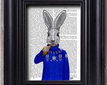 Rabbit in Ski Sweater Illustration Art Print Mixed Media Painting wall art wall decor Hanging Rabbit Print Rabbit art white rabbit picture