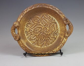 Hand Carved Brie Baker with Handles, Tuscan yellow