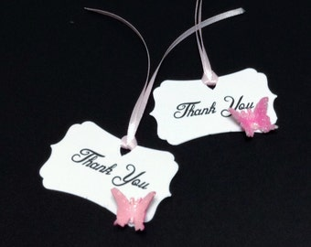 Buttterfly Thank You Tags -Baby Shower Thank You Tags - Shower Tags - Wedding Shower Thank You Tags - Set Of 10