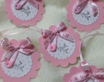 Pink Thank You Tags - Baby Girl Shower Thank You Tags - Shower Thank You Tags -  Set Of 12