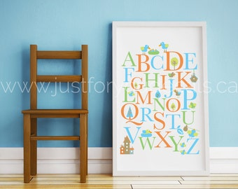 Alphabet Poster - Nursery Wall Art - Playroom Poster - Alphabet Wall Art - Alphabet Nursery Art - Alphabet Nursery - Nursery Art