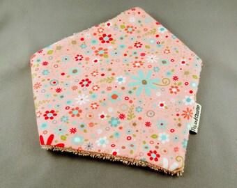 Bandana Dribble Bib - Spring Flowers on Pink