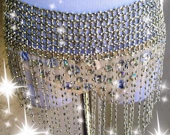 Silver Fringe Rave Skirt