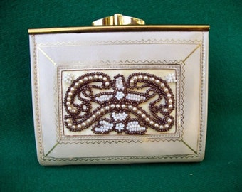 white beaded women's wallet
