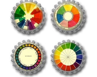 Color wheel magnets vintage color wheel artist gift for art teacher. Set of 4.