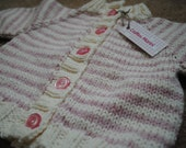 Striped Baby Sweater--Pink and cream