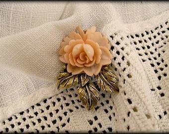 Vintage Brooch Celluloid Rose