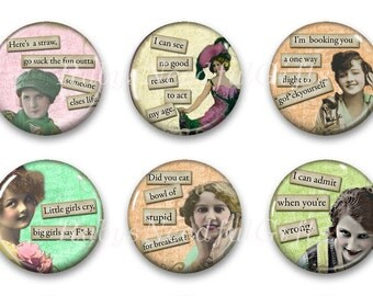 Magnets, Button Magnets, Fridge Magnets, Vintage Diva Magnets, 1 1/4 inch, Best friends gift, Hostess Gift, SET OF 6.
