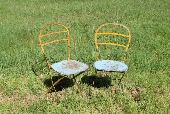 French Vintage Patio Chairs Rustic Pair Of By