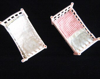 Pink Plastic Dolls House Beds