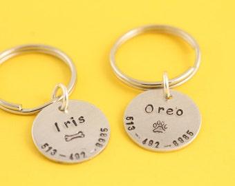 Pet ID Tag - Personalized Dog Tag - Pet Identification Tag - Dog Name Tag - Dog Nametag - Silver Pet Tag - Custom Pet Tag - Cat Pet Tag