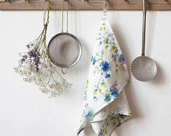 White Flower Stone Washed Linen Tea Towel