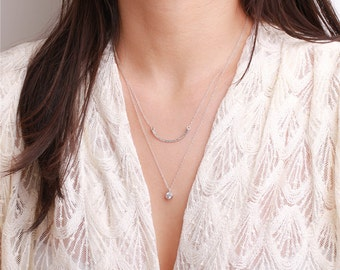Sterling silver hammered curve bar charm - sterling silver necklace - simple everyday jewelry