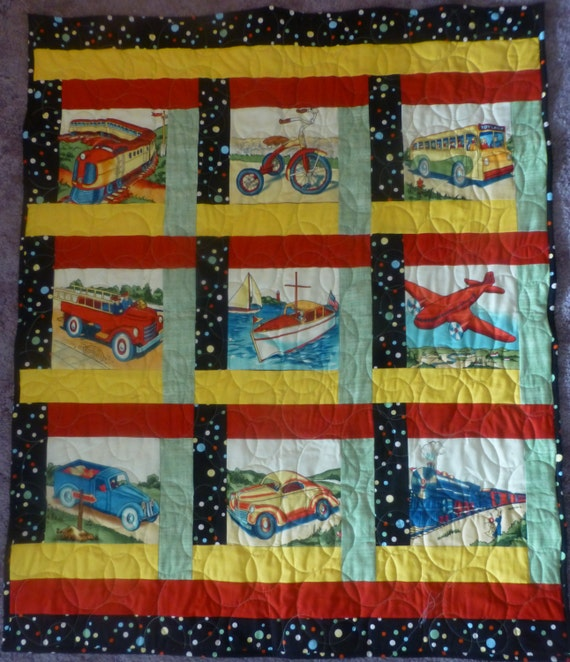 Items similar to baby quilt transportation crib quilt for Floor quilt for babies